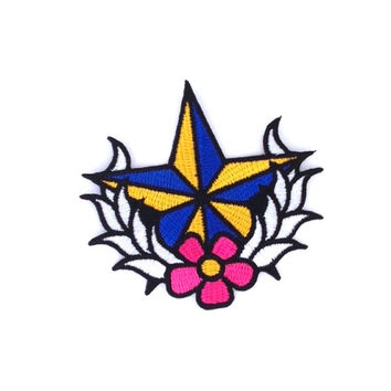 Star Flower Embroidered Patch Size 8.7 x 8 cm