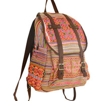 667f0ef1b SPECIAL PRICE Orange Backpack Book Bag Handmade Hmong Vintage Fabric Fair  Trade Thailand (BG510)