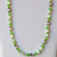 Long Sparkling Pale Green Gray Necklace, Dainty Pastel Romantic Jewelry, Cats Eye Swarovski Crystals, OOAK Handmade Unique Gift for Her