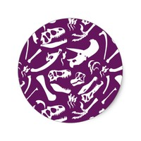 Dinosaur Bones (Purple) Classic Round Sticker