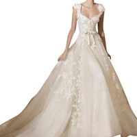DAPENE Sexy V-Neck Lace Sling Princess Bride Slim Wedding Dress