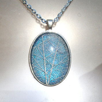 Real Skeleton Leaf Green and Blue Glass Oval Pendant Necklace