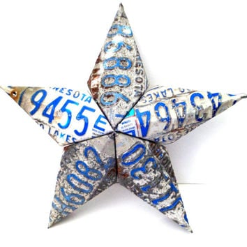 Minnesota Star - License Plate Star - Distressed Star - Metal Barn Star - Rustic Home Decor - 3 Dimensional Star,3d Barn Star,Upcycled Star