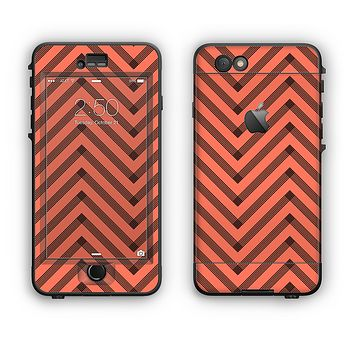 The Coral & Black Sketch Chevron Apple iPhone 6 LifeProof Nuud Case Skin Set