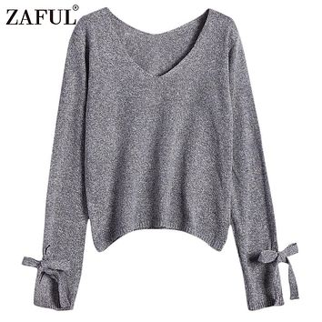 ZAFUL Autumn Winter Women Sweaters Pullovers Grey Basic Jumpers V Neck Bow Tied Long Sleeve Loose Sweater Knitwear pull femme