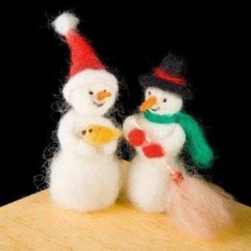 Snowman Wool Needle Felting Craft Kit by WoolPets