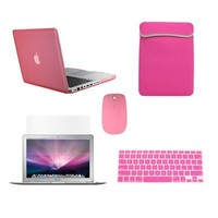 "TopCase New Macbook Pro 13"" 13 inch with Retina Display Model: A1425 and A1502 (NEWEST VERSION 2013) 5 in 1 Bundle - Pink Rubberized Hard Case Cover + Matching Color Soft Sleeve Bag + Wireless Mouse + Silicone Keyboard Cover + LCD HD Clear Screen Protector"