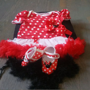 Minnie Mouse Dress Set,Minnie Baby Shoes, Baby girl dress, Cake Smash TuTu, Minnie Mouse Christmas dress, first christmas set, Ready to ship