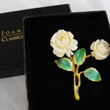 Joan Rivers Yellow Roses Pin in Original Box Classics Collection Jewelry