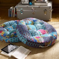 Kantha Cloth Floor Pillow, Cool