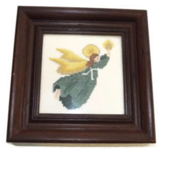 Vintage Small Wood Framed Needlepoint Angel With Candle and Halo Nice 7.5 x 7.5