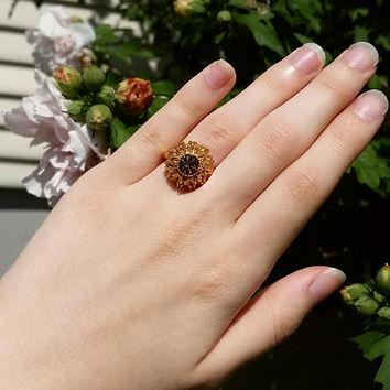 vintage avon ring brown and gold ring size 6