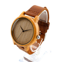 Simple II - Men's Bamboo Wood, Leather Band, Analog (No Dial) Wristwatch