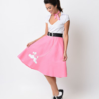 1950s Pink & White Classic Poodle Skirt Costume Set