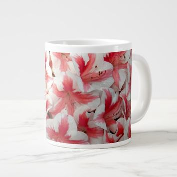 Red and White Azaleas Floral Large Coffee Mug