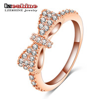 LZESHINE Lovely Bow Rings Rose Gold Plated Micro Inlay Full Cubic Zirconia Romantic Jewelry Party Rings #6 7 8 9 CRI0143-B