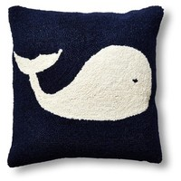 Whale 16x16 Wool Pillow, Navy