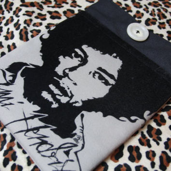 JIMI HENDRIX - Upcycled Rock Band T-shirt iPad Tablet Sleeve - OOAK