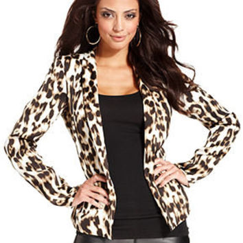 GUESS Jacket, Long-Sleeve Leopard-Print Blazer - Juniors Jackets & Blazers - Macy's