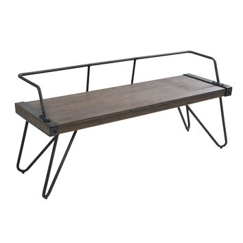 Stefani Bench Walnut Wood, Antique