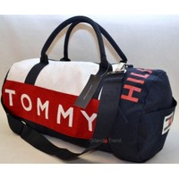 Tommy Hilfiger Red and Blue Large Duffel/Travel Bag 467 at OrlandoTrend.com
