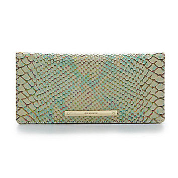 Brahmin Opal Seville Collection Ady Snake Embossed Wallet - Opal