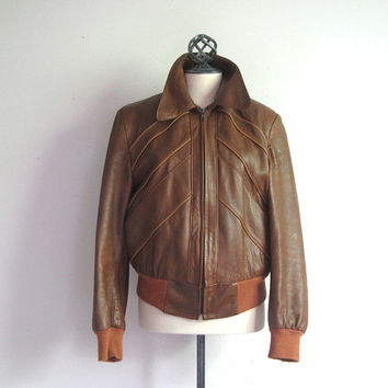 Vintage 1970s Leather Coat Brown Genuine Leather Bomber Jacket 40