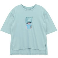 Dip Hem T-shirt with Cat Print