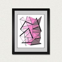 Abstract art print. Geometric print from original pink painting.