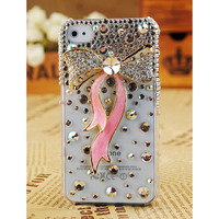 Pink crystal bow iphone 4 case white iphone 4G 4S case diamond ribbon iphone 4 case bling iphone 4 case iphone 4 cover