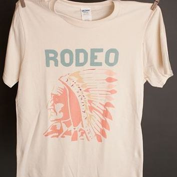 "Annette's ""Rodeo Chief"" Natural Crew Tee"