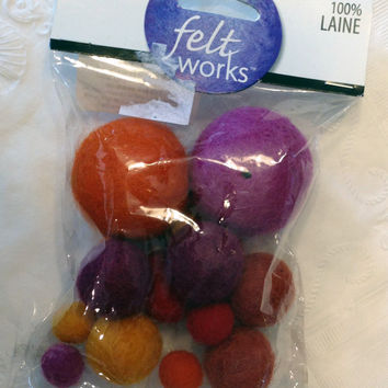 Wool Felt Beads Felt Works 100% Purple, Orange, Yellow, Maroon, Jewelry and Crafts, new package