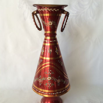Copper Folk Vase, Hand Painted, Vintage Turkish, Floral Tole Painted, Middle Eastern Metal, Tall Conical Copper, Red and Gold Color Folk Art