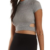 Combo Cut-Out Ribbed Mock Neck Top by Charlotte Russe