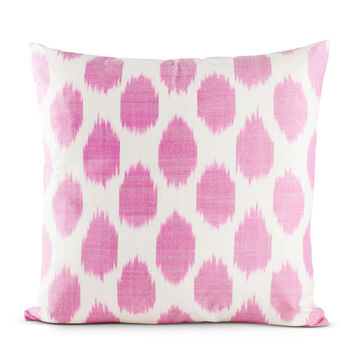 Fuchsia Spotted Silk Pillow