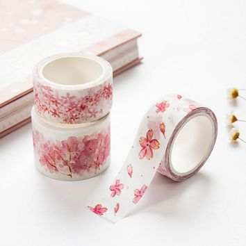 1 pcs Watercolor Sakura Washi Tape Adhesive Tape DIY Scrapbooking Sticker Label Masking Craft Tape Office Adhesive Tape