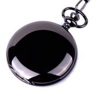 Pocket Watch Quartz Movement Black Case White Dial Arabic Numerals with Chain Full Hunter Design...