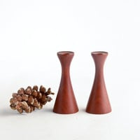 Danish Modern teak candle holders – pair small teak candle holders – made in Denmark Mid-Century Modern candle holders