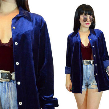 vintage 90s blue velvet oversized blouse top royal blue slouchy duster jacket minimalist blouse top soft grunge cyber grunge medium