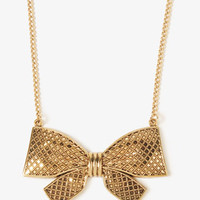 Checkered Bow Necklace