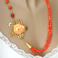 Orange Necklace, Beaded Necklace, Flower Necklace, Long Necklace, Multi Strand, Handmade Necklace, Handcrafted Jewelry, Unique Necklace