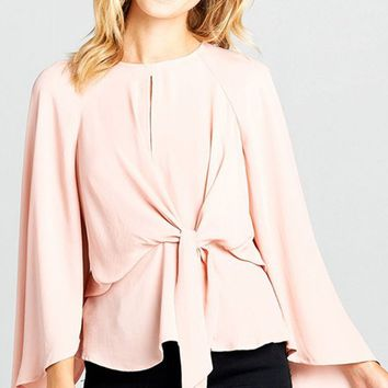 Be Your Best Light Nude Pink Long Bell Sleeve Round Neck Keyhole Tie Waist Blouse Top