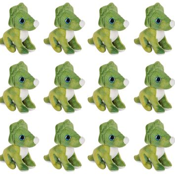 "12 Pack Triceratops Mini 4"" Small Stuffed Animals, Bulk Bundle Dinosaur Animal Toys, Dino Party Favors for Kids"