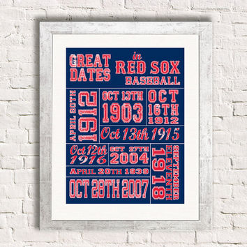 Important Dates in Sports History - Boston Red Sox - Sports Art Print Customized Gift Memorablia