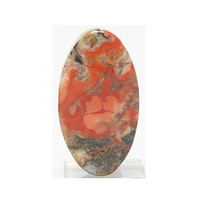 Myrickite Cinnabar in Opalized Agate Stone Red Orange Cabochon Mined and Handcrafted in California Hard to find Death Valley Stone