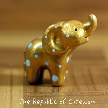 Gold Elephant Figurine with Blue Dots - Handmade Polymer Clay Figurine