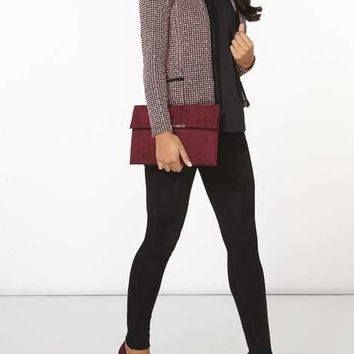 pink and black boucle jacket