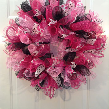 Hot Pink Polka Dot, Fushia, Black and White Polka Dot  Deco Mesh Wreath