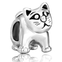 Pugster Silver Plated Cute Cat Animal Bead Fit Pandora Chamilia Biagi Charms Bracelet