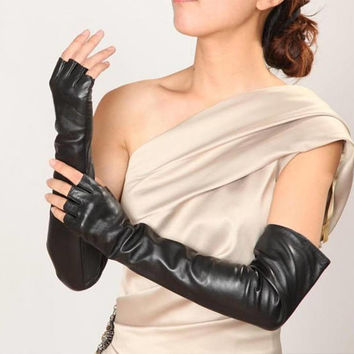 Fingerless long leather gloves-super soft 100% silk lining-black leather gloves-red-women gift-glamour style-fingerless leather gloves gift